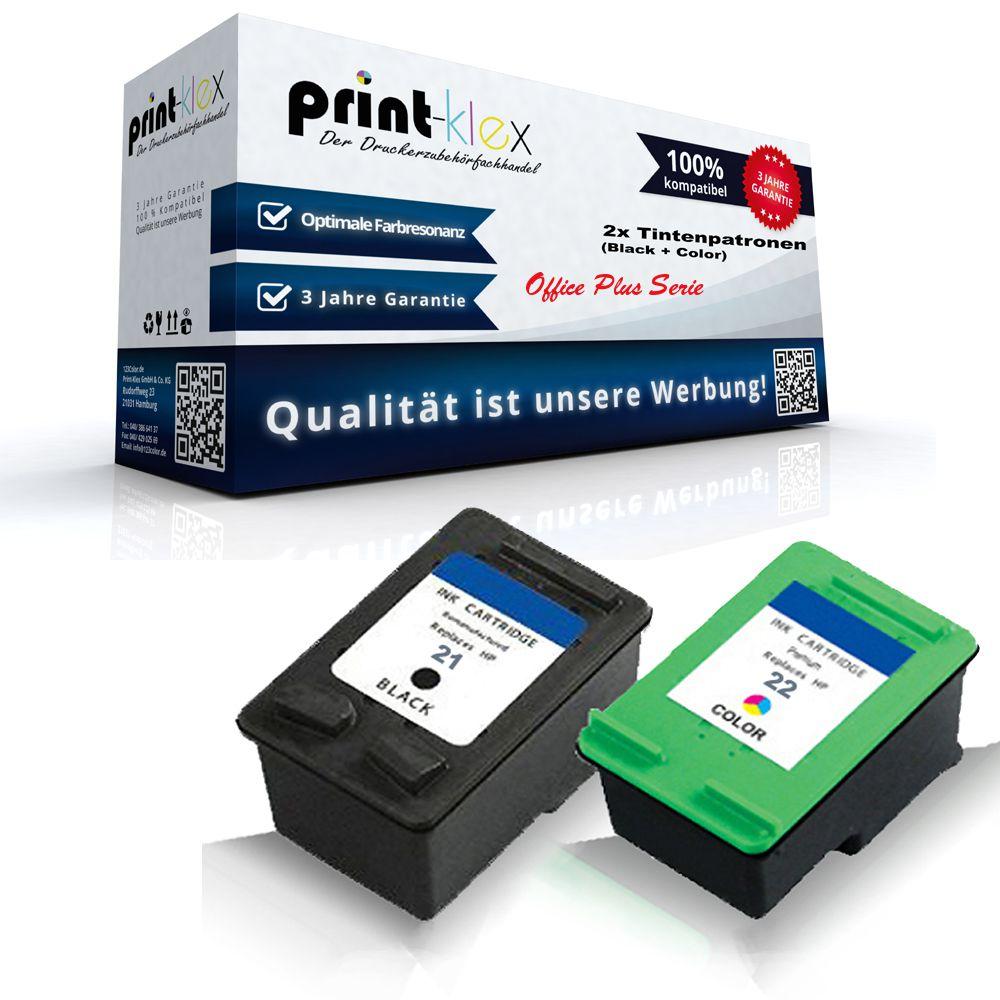 2x Alternativa Cartuchos De Tinta Para Hp 21 22 Impresora Xl Office